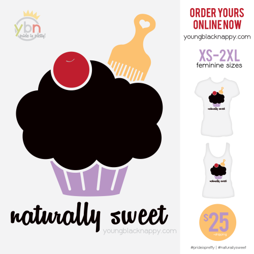 Natural hair t-shirt featuring a cupcake with an afro pick.